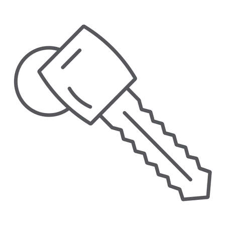 Car key thin line icon, auto and security, unlock sign, vector graphics, a linear pattern on a white background.