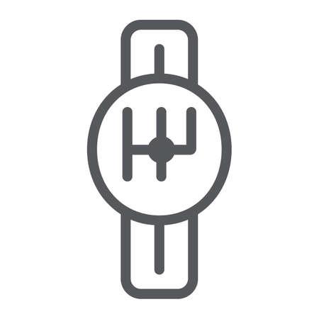 Icône de ligne de transmission, voiture et pièce, signe de boîte de vitesses, graphiques vectoriels, un dessin linéaire sur un fond blanc. Vecteurs