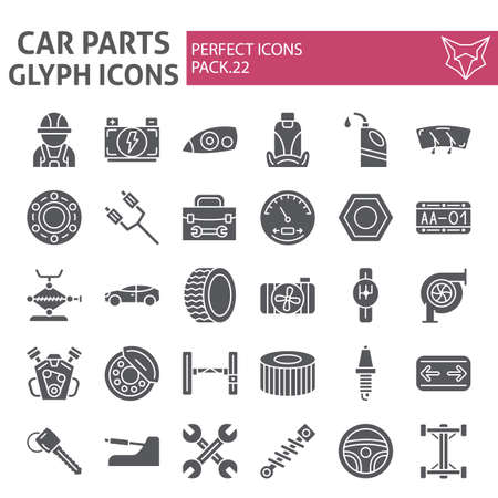 Car parts glyph icon set, automobile symbols collection, vector sketches, logo illustrations, auto repair signs solid pictograms package isolated on white background. Logo