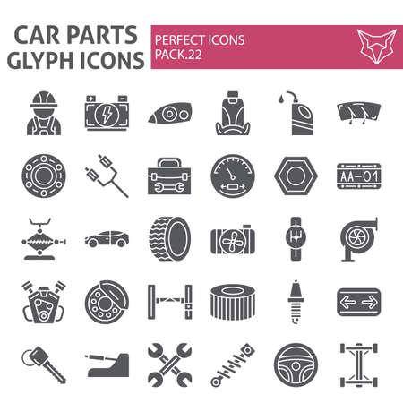 Zestaw ikon glifów części samochodowych, kolekcja symboli samochodów, szkice wektorowe, ilustracje logo, naprawa samochodów znaki pakiet stałych piktogramów na białym tle. Logo