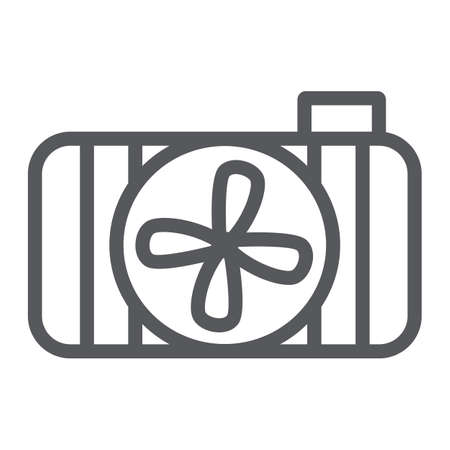 Car radiator line icon, auto and part, cooling system sign, vector graphics, a linear pattern on a white background.