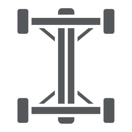 Chassis-Glyphe-Symbol, Auto und Teil, Auto-Shaft-Zeichen, Vektorgrafiken, ein festes Muster auf weißem Hintergrund. Vektorgrafik
