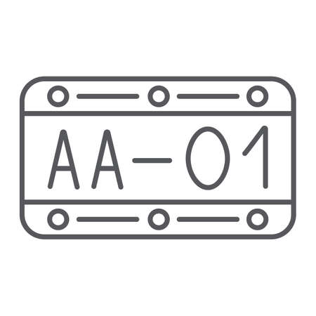 Car number thin line icon, automobile and part, metal number sign, vector graphics, a linear pattern on a white background.