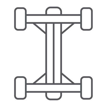 Chassis dünne Linie Symbol, Auto und Teil, Auto-Shaft-Zeichen, Vektorgrafiken, ein lineares Muster auf weißem Hintergrund. Vektorgrafik