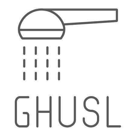 Ghusl thin line icon, hygienic and islam, arabic shower sign, vector graphics, a linear pattern on a white background.