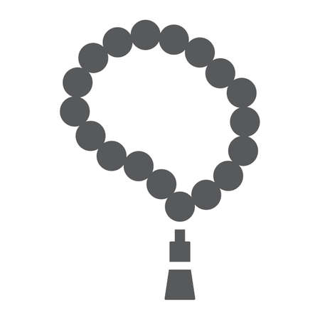 Muslim tasbih glyph icon, arabic and islam, islamic rosary sign, vector graphics, a solid pattern on a white background. Ilustracja