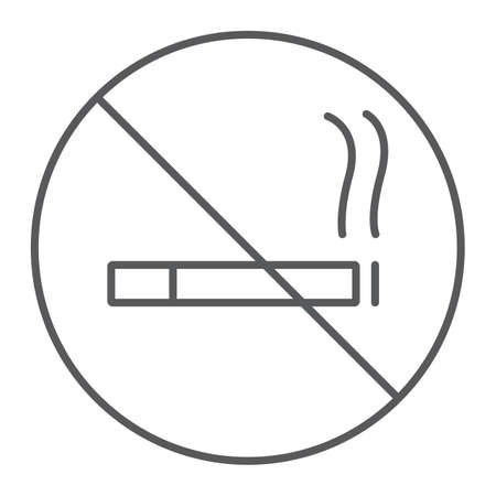 No smoking thin line icon, forbidden and stop, no cigarette sign, vector graphics, a linear pattern on a white background.