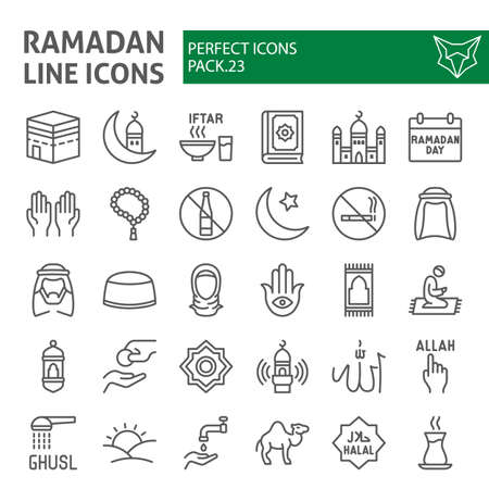 Ramadan line icon set, islamic symbols collection, vector sketches, logo illustrations, muslim signs linear pictograms package isolated on white background.