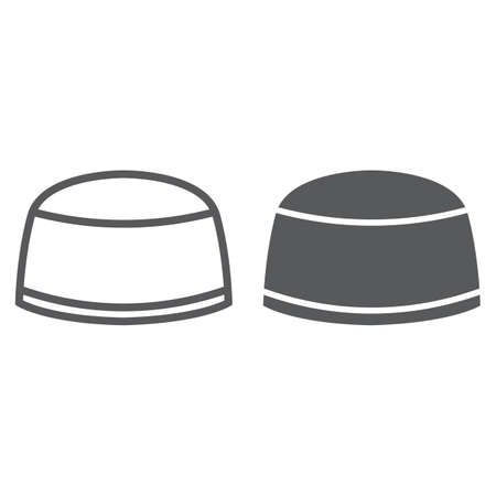 Muslim cap line and glyph icon, arabic and islam, turkish hat sign, vector graphics, a linear pattern on a white background. Illustration