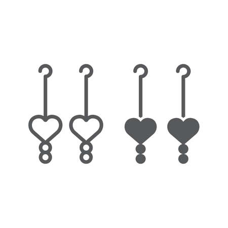 Heart earrings line and glyph icon, love and jewelry, jewel sign, vector graphics, a linear pattern on a white background. Illustration