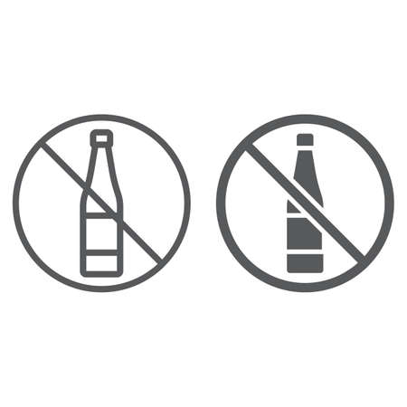 No alcohol line and glyph icon, drink and warning, alcohol forbidden sign, vector graphics, a linear pattern on a white background.