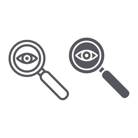 Observation line and glyph icon, surveillance and lens, eye and magnifier sign, vector graphics, a linear pattern on a white background.