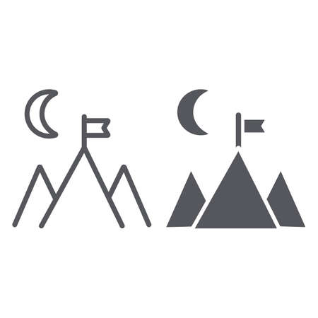 Goal achievement line and glyph icon, motivation and success, mountain and flag sign, vector graphics, a linear pattern on a white background.