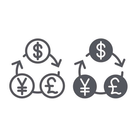Currency exchange line and glyph icon, financial and bank, money sign, vector graphics, a linear pattern on a white background.