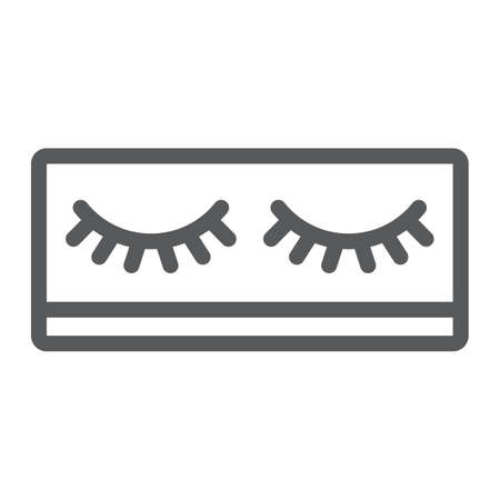 Fake eyelashes line icon, makeup and beauty, lashes sign, vector graphics, a linear pattern on a white background.