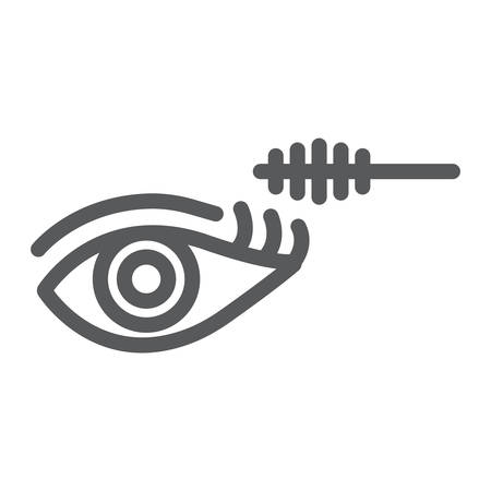 Eye makeup line icon, beauty and makeup, mascara brush sign, vector graphics, a linear pattern on a white background.