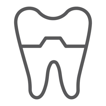 Damaged tooth line icon, dentist and dental, cracked tooth sign, vector graphics, a linear pattern on a white background.