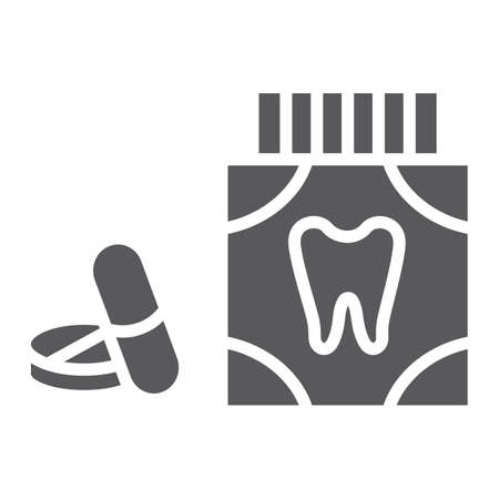 Toothache painkiller tablets glyph icon, stomatology and dental, dentistry pills sign, vector graphics, a solid pattern on a white background.