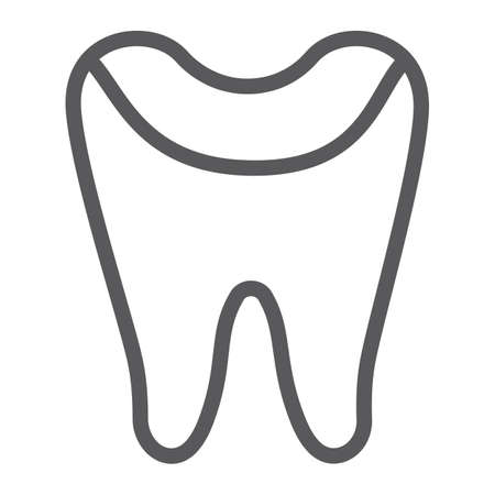 Tooth enamel line icon, dental and dentistry, tooth care sign, vector graphics, a linear pattern on a white background.