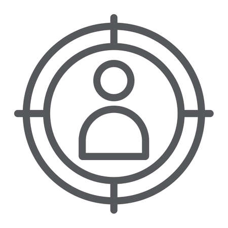 At gunpoint line icon, aim and target, goal man sign, vector graphics, a linear pattern on a white background. Çizim