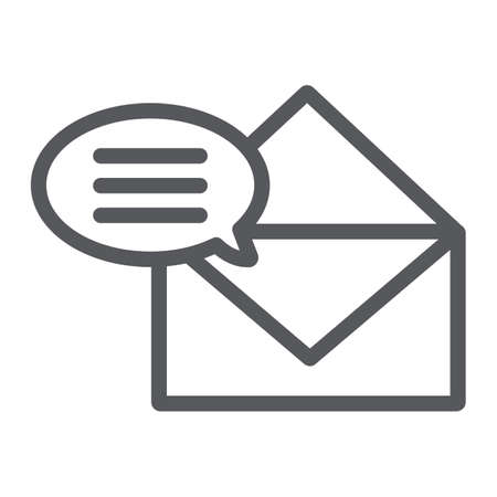 Correspondence line icon, email and mail, envelope sign, vector graphics, a linear pattern on a white background.