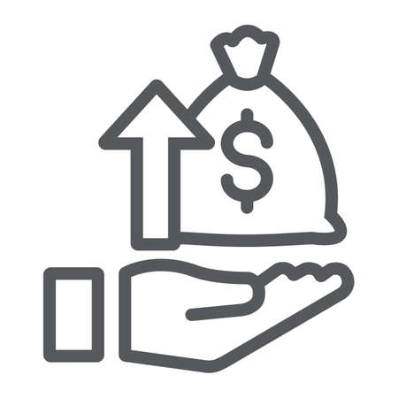 Icona della linea di raccolta fondi, denaro e aumento, borsa dei soldi e freccia su segno, grafica vettoriale, un modello lineare su sfondo bianco. Vettoriali