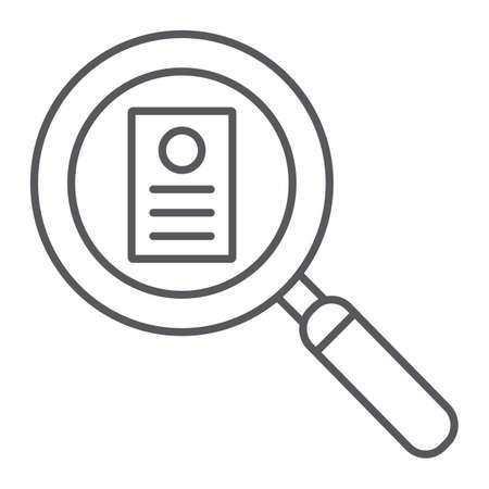 Consideration thin line icon, work and recruitment, lens and resume sign, vector graphics, a linear pattern on a white background.