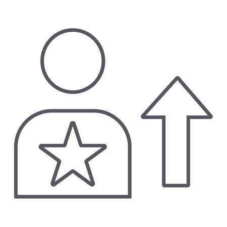Skill thin line icon, employee and rating, person sign, vector graphics, a linear pattern on a white background.