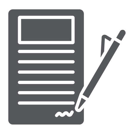 Signing contract glyph icon, paper and agreement, document sign, vector graphics, a solid pattern on a white background.