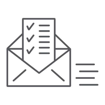 Icône de fine ligne de document envoyé, e-mail et courrier, enveloppe avec signe de liste, graphiques vectoriels, un dessin linéaire sur un fond blanc, eps 10.