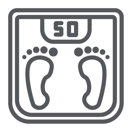 Body weight line icon, measurement and kilogram, scale sign, vector graphics, a linear pattern on a white background.  イラスト・ベクター素材