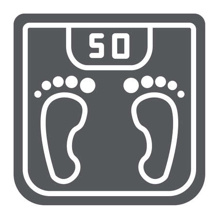 Body weight glyph icon, measurement and kilogram, scale sign, vector graphics, a solid pattern on a white background.
