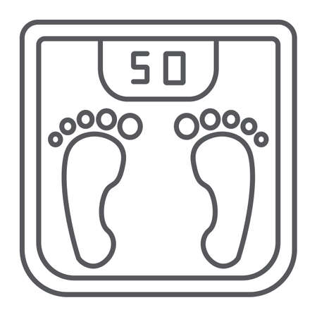 Body weight thin line icon, measurement and kilogram, scale sign, vector graphics, a linear pattern on a white background.