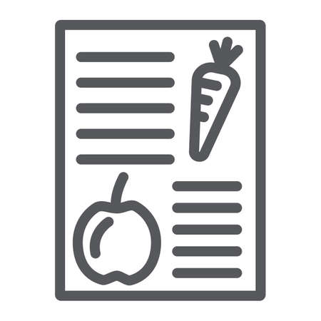 Diet plan line icon, health and meal, balanced meal sign, vector graphics, a linear pattern on a white background.