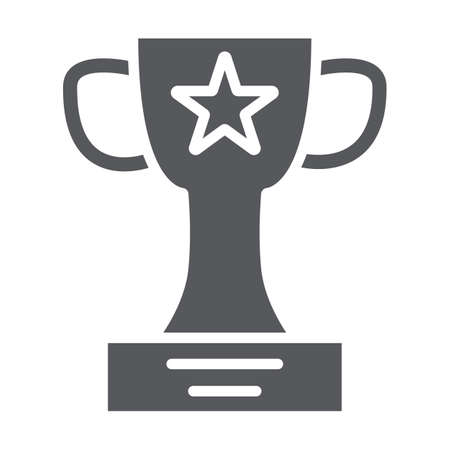 Winner cup glyph icon, champion and goblet, trophy sign, vector graphics, a solid pattern on a white background.
