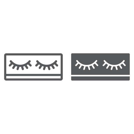 Fake eyelashes line and glyph icon, makeup and beauty, lashes sign, vector graphics, a linear pattern on a white background.