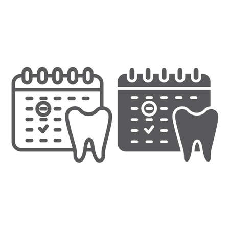 Dentist appointment line and glyph icon, schedule and dental, calendar sign, vector graphics, a linear pattern on a white background.