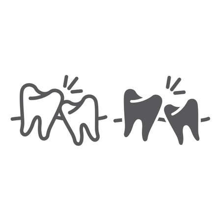 Wisdom teeth line and glyph icon, dentistry and dental, unhealthy teeth sign, vector graphics, a solid pattern on a white background.