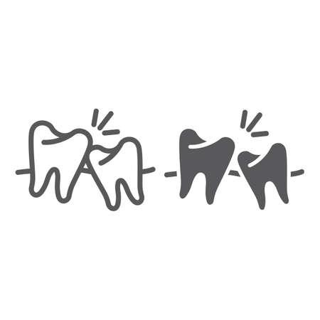 Weisheitszahnlinie und Glyphensymbol, Zahnmedizin und Zahnmedizin, Zeichen für ungesunde Zähne, Vektorgrafiken, ein festes Muster auf weißem Hintergrund.