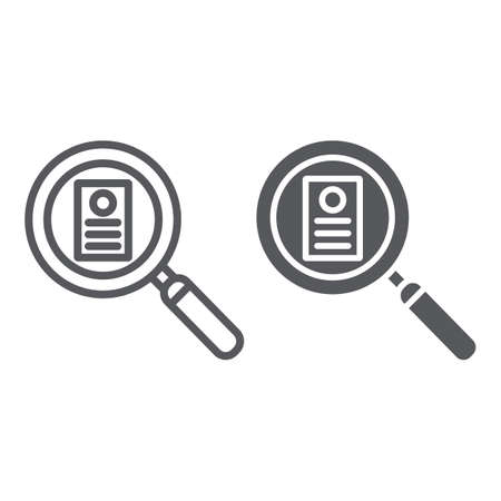 Consideration line and glyph icon, work and recruitment, lens and resume sign, vector graphics, a linear pattern on a white background.