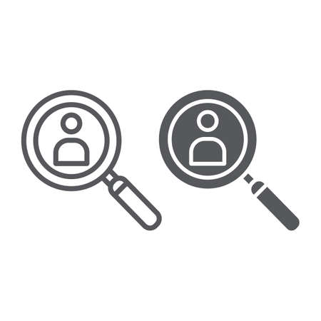 Person search line and glyph icon, recruitment and magnifier, lens with human sign, vector graphics, a linear pattern on a white background.