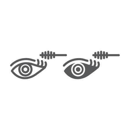 Eye makeup line and glyph icon, beauty and makeup, mascara brush sign, vector graphics, a linear pattern on a white background.