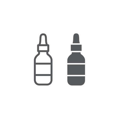 Cosmetic serum line and glyph icon, makeup and cosmetic, moisturizer sign, vector graphics, a linear pattern on a white background.  イラスト・ベクター素材