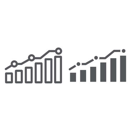 Diagram line and glyph icon, report and graph, growth chart sign, vector graphics, a linear pattern on a white background.