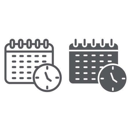 Schedule line and glyph icon, organizer and time, calendar sign, vector graphics, a linear pattern on a white background. Ilustrace