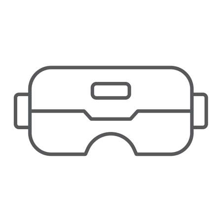 VR glasses thin line icon, game and play, vr mask sign, vector graphics, a linear pattern on a white background. Illustration