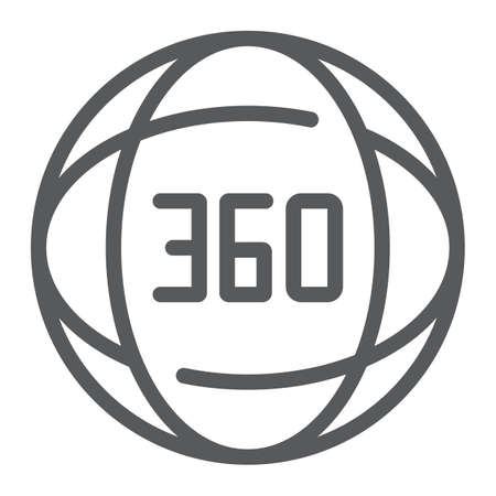 360 degree line icon, angle and view, rotate sign, vector graphics, a linear pattern on a white background.