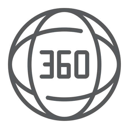 360-Grad-Liniensymbol, Winkel und Ansicht, Zeichen drehen, Vektorgrafiken, ein lineares Muster auf weißem Hintergrund.