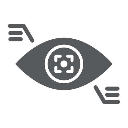 Eyetap glyph icon, sensor and innovation, eye tracking sign, vector graphics, a solid pattern on a white background. Çizim