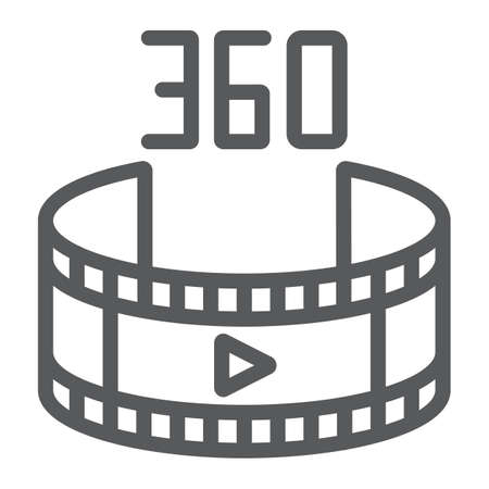 360 video line icon, rotation and view, panoramic video sign, vector graphics, a linear pattern on a white background. Ilustração